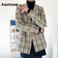 Women's Suits & Blazers Aachoae Women Chic Plaid Print Blazer Suit Vintage Notched Collar Long Sleeve Female Fashion Office Wear Outerwear