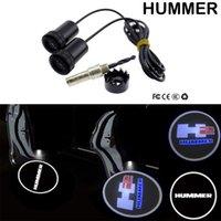 2 adet Hayalet Gölge Logosu Hoşgeldiniz Araba Beyaz LED Kapı Işık Lazer Hummer H2 Için Lazer Nezaket Slayt Projektör Amblem Işık