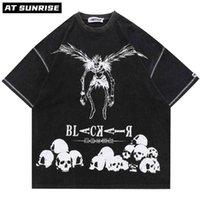 Hip Hop Streetwear Harajuku T Shirt Japanese Death Manga Nota Imprimir Tshirt Hombres Verano Camiseta de manga corta Tops sueltos Tops TEE