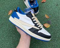 2021 frammento travis scotts x jumpman 1 scarpe da uomo scarpe da donna scarpe da basket militare blu all'aperto moda scarpe da ginnastica sportiva con scatola