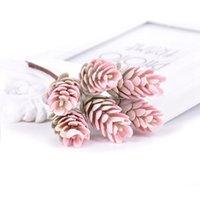 6 unids / ramo de flores artificiales Piña de la hierba de la piña Planta falsa para la decoración de la Navidad de la boda DIY Craft Decor Decor Wreath GWD6078