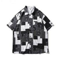 Kiryaquy Erkekler Paisley West Crips Kanlar Moda Pamuk Casual Gömlek Gömlek Yüksek Kalite Cep Kısa Kollu # D23 Erkekler