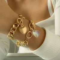 Charm Bracelets 2PCS SET Gold Punk Chains Bracelet Bangle For Women Hip Hop Heart Pendant Crystal Chain Set Hand Jewelry