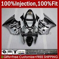 Stampo ad iniezione Bodys per Kawasaki Ninja 600cc ZZR600 05 06 07 08 Bodywork 38HC.61 100% Fit ZZR-600 600 cc Silvery Flames 05-08 ZZR 600 2005 2006 2007 2008 Kit carening OEM