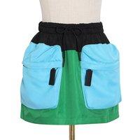 Twotwinstyle Falda para mujeres Patchwork Alta cintura Pocket Plus Tize Hit Color Mini Faldas Mujer