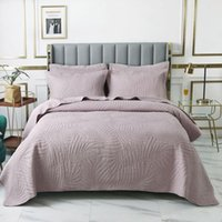 Comforters & Sets Pink Cotton Bedspread On The Bed Quilt Set 3pcs Coverlet Solid Embroidered Cover King Queen Size Quilted Blanket For