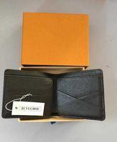 High Quality Men Women Wallet Credit Card Holder Classic Mini Bank black simple Small Slim Wtih Box