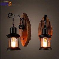 Vägglampa Järn Trä Loft LED Light Sconce E27 4W Industrial Vintage Badrum Spegel Lampor Bedside Fixtures Lamade da Parat