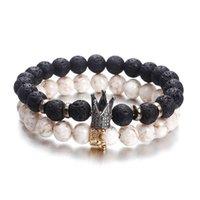 أسود أبيض حجر تاج أساور للنساء الرجال البراكاني زوجين الخرز رخيصة سوار مجوهرات مخصص