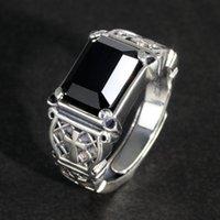 Klaster pierścienie Vintage Punk Srebrny 925 Biżuteria Signet Męskie Krzyż Naturalny Czarny Kamień Onyx Christian Otwarcia typu
