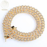 8mm Micro Pave Iced CZ Cuban Link Necklaces Chains Gold Color Luxury Bling Jewelry Hiphop For Men VP896