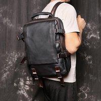 Backpack Nesitu High Quality A4 Coffee Black Genuine Leather 14'' Laptop Women Men Backpacks Male Travel Bags M1034