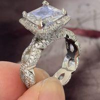 Victoria wieeck vintage modeschmuck drachenklaue weiß topaz cz diamant 925 sterling silber prinzessin cut party hochzeitsband ring geschenk