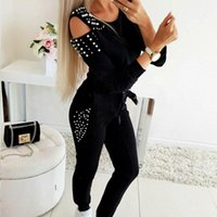 Women's Two Piece Pants Women 's Suit Spring And Autumn 2021 Young Middle-Aged Sexy Beaded Solid Color Round Neck Long Sleeve Top + Trousers