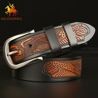 Belts Top Selling Men's Genuine Leather Belt Eagle Carved Personalized Casual Pin Buckle Jeans Mens Luxury