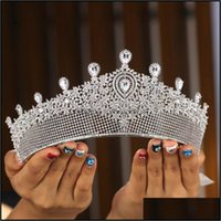 Saç Jewelryhair Klipler Tailes Tırim Tam Zirkonya Düğün Taç Takı Gelin Başlığı Kadın Barok Kristal Tiaras Gelin Parti Taç