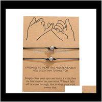 Charm Jewelry2Pcs Lot Bead Couple Bracelets Set Men Women Braided Jewelry Adjustable Rope Red String Friendship Bracelet T389 Drop Delivery 2