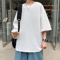 Summer New Korean Solid Color Waffle Short Sleeve Fashion Men's 5-sleeve Top Loose T-shirt