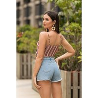 Leosoxs 2021 Summer Fashion Women's Spaghtti Straps Backless Off Shoulder Sexy Bow Bandage Striped Short Sleeveless Crop Top T-Shirt
