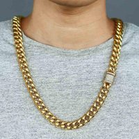 "14mm Necklace For Men Boy Miami Curb Cuban Link Chain Gold Color Iced Out Paved Cubic Zirconia CZ Jewelry 28-30"" DGN481 Chains"