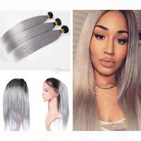 Preucked 360 Frontal с Omber Человеческие волосы для волос 3 Шт. Шелковистые Прямые 1b Серые волосы Weaves с 360 полным кружевом Frontal для женщины