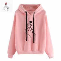 Women Hoodies Finger Heart Love Pattern Hooded Sweatshirts Restore Winter Casual Drawing agreement Long Mouw Women's Trousers