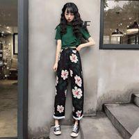 Women's Tracksuits Female fashion suit Korean summer loose elegant casual impression leg drop pants T-shirt tw VFA2