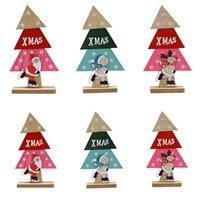 Naturligt trä julgran prydnad trä hängande hängen Party gåvor tecknad mönster Santa Claus snö älg hem skrivbord dekorationer