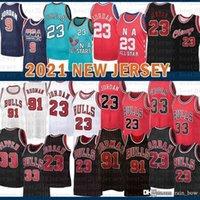 """2021 جديد كرة السلة جيرسي شيكاغو """"الثور رجل 23 مايكل سكوتي 33 ppipen شبكة الرجعية دينيس 91 رودمان الشباب الاطفال البرتقال"""