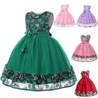 2020 best selling Embroidered Dress Girls' evening party Lace Princess dress flower children's mesh shawl skirt