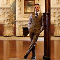 Men's Suits & Blazers Mens Designers 2021 Brown Tween Men Tuxedo For Wedding Formal Slim Fit Custom Winter 3 Pieces Business Suit