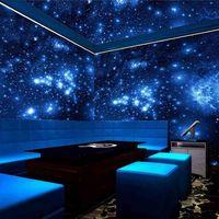 Tamaño personalizado 3D Estéreo azul Noche Universo Espacio Shinning Estrellas Mural Papel pintado para el techo de la pared Sala de estar Bar KTV Decor 210722