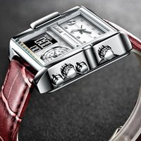 Marca Hombres Relojes deportivos 3 Zona horaria Hombre grande Moda Militar LED Reloj de Cuero Relojes de pulsera Relogio Masculino