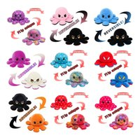 DHL New Colorful Reversible Flip Octopus Stuffed Dolls Soft Double-sided Expression Plush Toy Baby Kids Gift Doll New Year Christmas