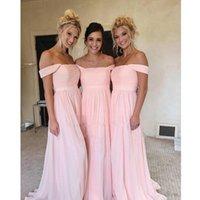2021 Pink Bridesmaid Dresses Off Shoulder Side Split A Line Floor Length Pleats Country Beach Wedding Guest Gowns robes de demoiselle d'honneur