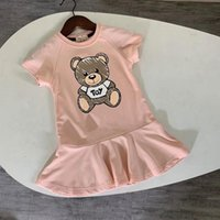 Girl's Dresses 2021 Summer Fashion Kids For Girls Cotton Cartoon Bear Short Sleeve Comfortable Children Princess Dress 2-10 Year