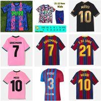 21 22 Barcelona Jersey Jersey Barca FC Camiseta de Futbol Messi Kun Aguero 2021 2022 Ansu Fati Grisezmann F.De Jong Dest Countinho Camisa de Futebol Kit Men Kids Sets