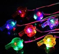 Gloeiend knipperend fluitje Kleurrijke Lanyard LED Light Up Fun in the Dark Party Rave Glow Party Gunsten Kinderen Kinderen Elektronische Speelgoed met Doos