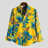 Persönlichkeit langes Hemden lässig drucken Hawaiianische Bluse-Hemd-Plaid-Männer 100% Leinen-Gewebehülle Kiloting-Männer