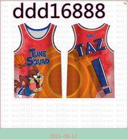من جديد TAZ NCAA 2021 Movie Space Jam Tune Tune Squadball Jersey Blue 7 R.Runner Lebron 6 James 23 Michael 1 Bugs 1/3 Tweety 10 Lola Lavender 00