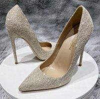 Mode Luxus Designer Frauen Kleid Schuhe Klassische rote Bottoms High Heels Plus Größe Euro34 bis 45 Spitzzehen Pumps Graue Sommer Hochzeit Brautspitze mit Originallogo