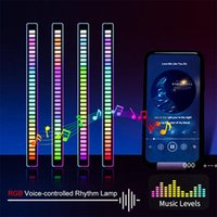 RGB Voice-Activated Pickup Rhythm Light, Creative Colorful Sound Control Ambient with 32 Bit Music Level Indicator Car LED Light FWF9971