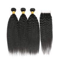Kinky Straight Hair 4 Bundles With Lace Closure 4x4 Unprocessed Natural 1B Color Remy Human Bundles Hair Extensions