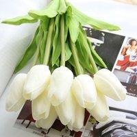 Simulazione Fiore PU Tulips Singolo bouquet stelo grazioso Artificiale Fiori falsificati Casa Centrotavola per la casa Decorazioni di nozze del partito 701 V2