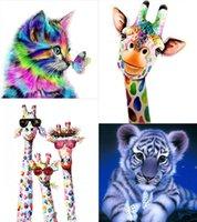4-paczka DIY Diament Malarstwo 5D Błyszcząca Żywica Art Zwierząt Obrazy Zestawy dla dorosłych Dzieci wiszące na ścianie jako dekoracji wnętrz GWB10978