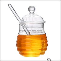 Хранение Организация Housekee Организация Гарденстата Бутылки JARS Прозрачная Стеклянная Медовая Банка с Крутой Ковш, Очистить, 9 унций для домашней кухни DRO