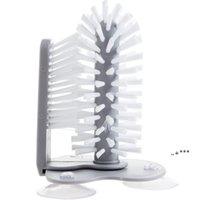 Kreative Saugmauer Lazy Cup Pinsel Spülmaschine 2 in 1 Küchenbüros Home Pinsel Glaswaren Reinigen Rotierender Teetassenbürste EWD6088