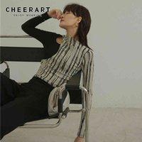 CHEERART Designer T Shirt For Women Sexy Hollow-Out Ladies T Shirt Patchwork Long Sleeve Tee Shirt Femme Top Underwear 210421