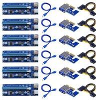6 unids 006C PCIE 1X a 16X Express Riser Card Graphic PCI-E Extender 60cm USB 3.0 Cable SATA 6PIN POWER PARA BTC MINING COMPUTADOR CABLES CONNE