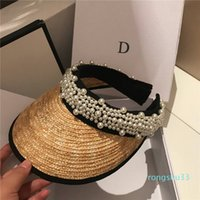Fashion Pearl Straw Caps Without Top Holiday Beach Hat Womens Wide Brim Hats High Quality Sun Hat Tide Fisherman Hats